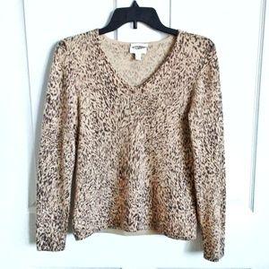 Charter Club Petite 100% Cashmere Leopard Sweater